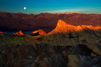 First Light and Moonset -Manly Beacon, Death Valley National Park